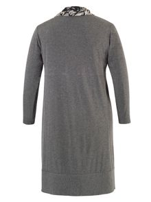 Grey Dress with Steel Print Cowl Neck