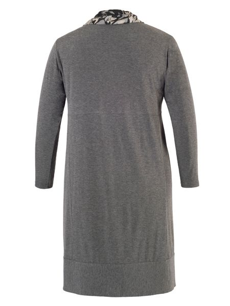 Chesca Plus Size Grey Dress with Steel Print Cowl Neck