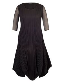 Black Crush Pleat Crepe Drape Hem Dress