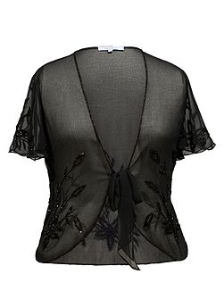 Black Beaded Georgette Shrug
