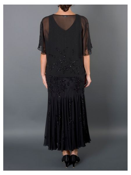 Chesca Black Beaded Georgette Shrug