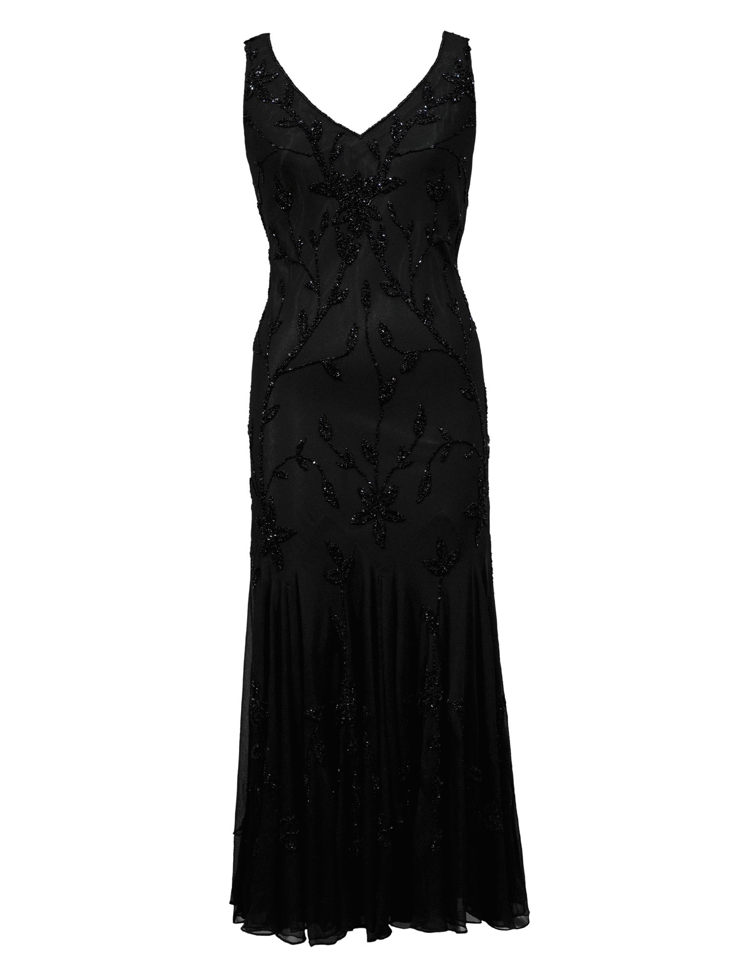 Chesca Black All Over Beaded Dress, Black
