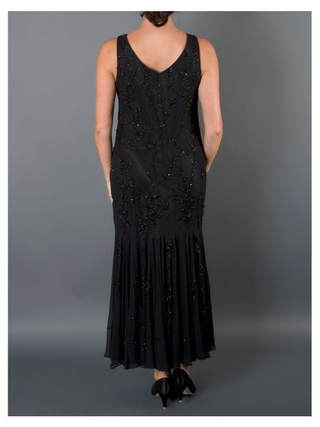 Chesca Black All Over Beaded Dress