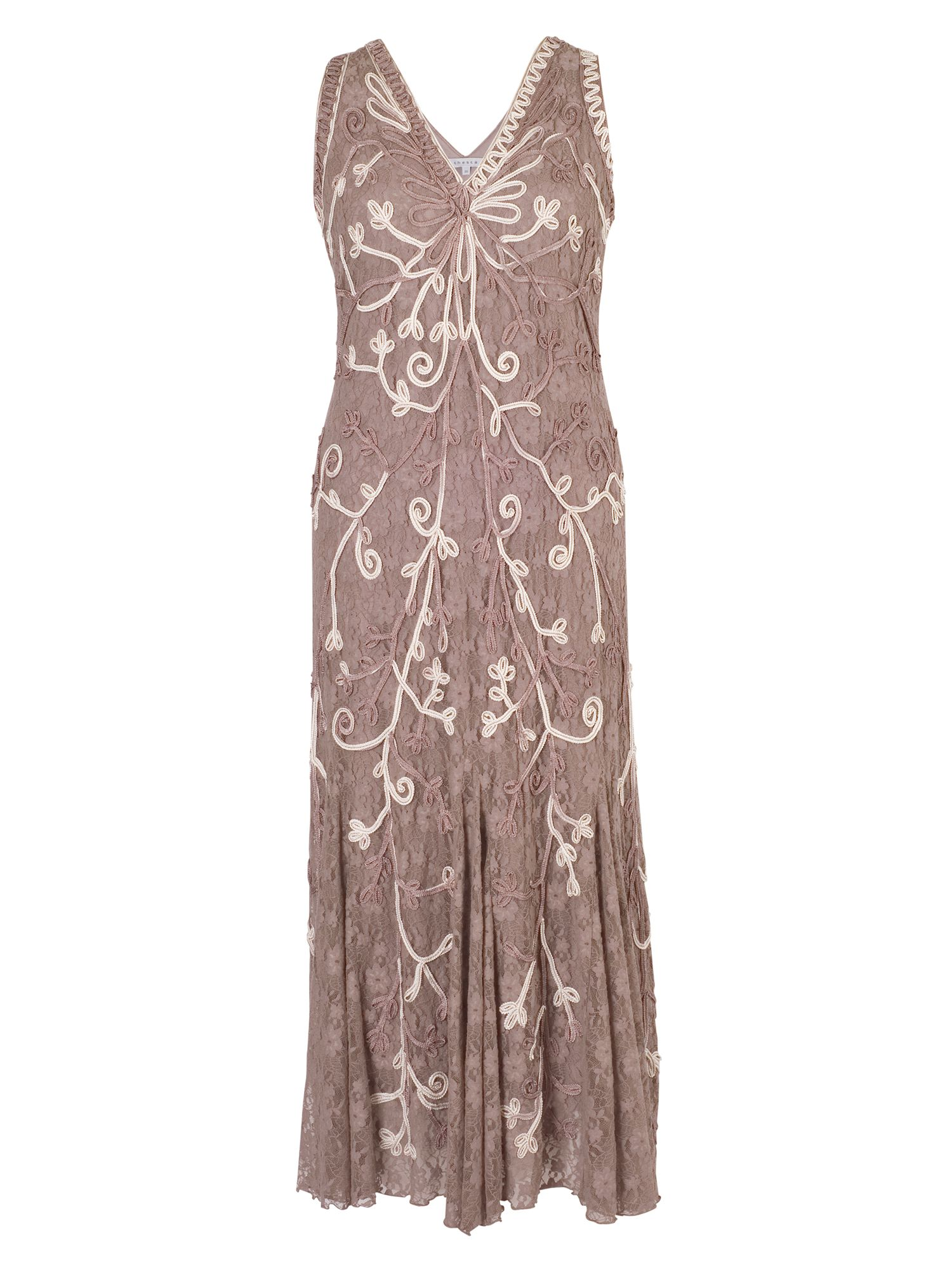 Chesca Plus Size Mink Ombre Cornelli Stretch Lace Dress Brown £255.00 AT vintagedancer.com
