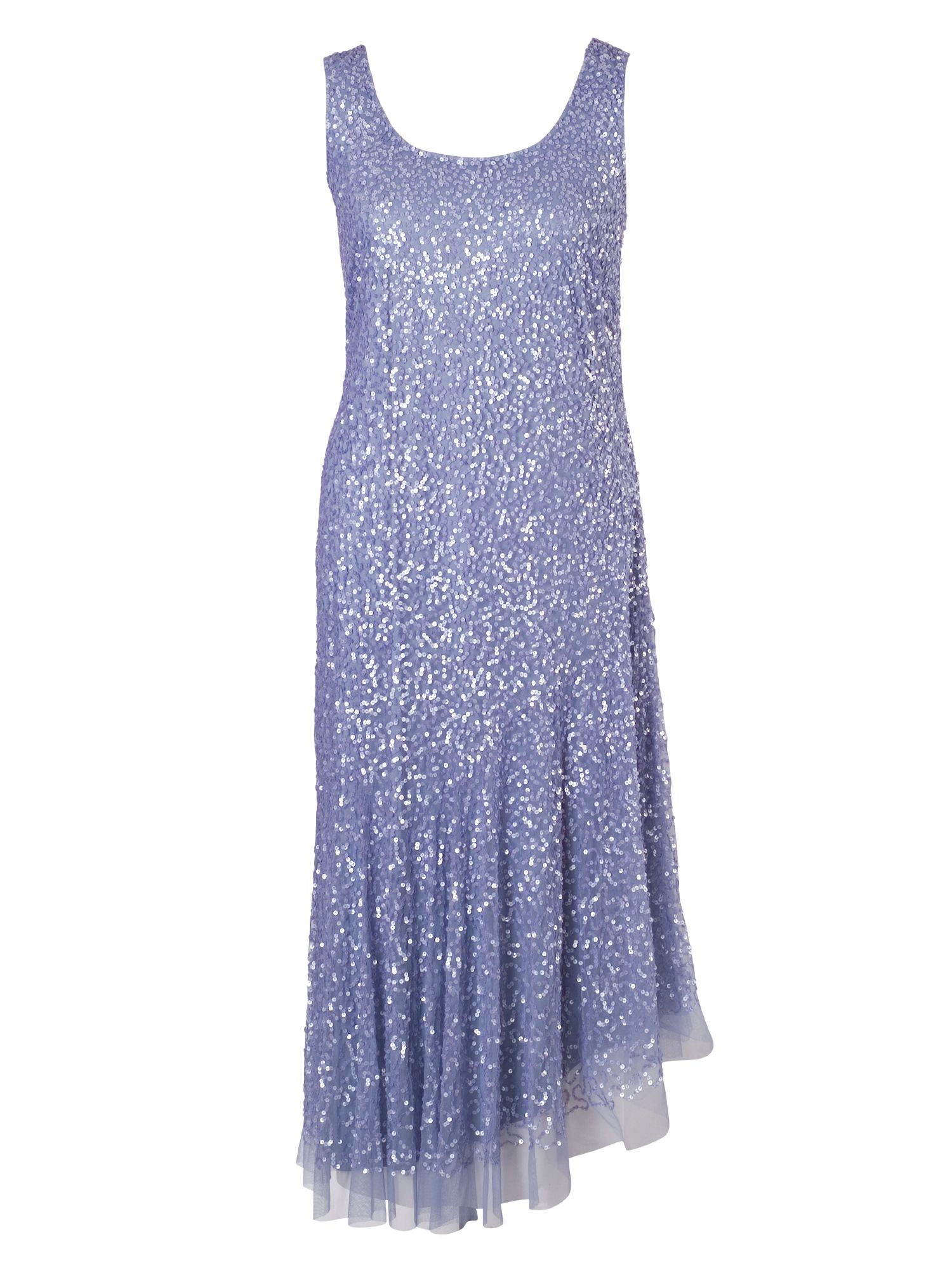 Chesca Matt Vermicelli Sequin Mesh Dress, Lilac