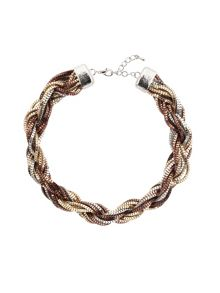 Twisted mixed metal necklace