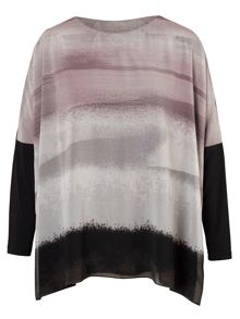 Chesca Plus Size Abstract Stripe Printed Jersey Tunic