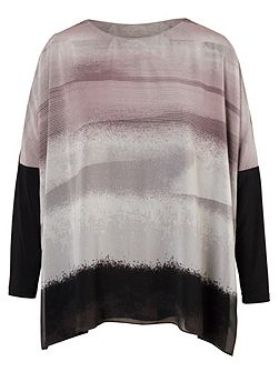 Plus Size Abstract Stripe Printed Jersey Tunic