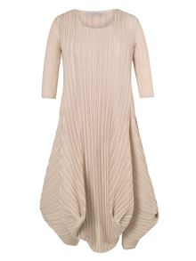 Crush Pleat Crepe Drape Hem Dress