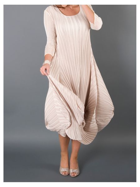 Chesca Crush Pleat Crepe Drape Hem Dress