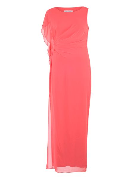 Chesca Plus Size Chiffon Asymmetric Dress