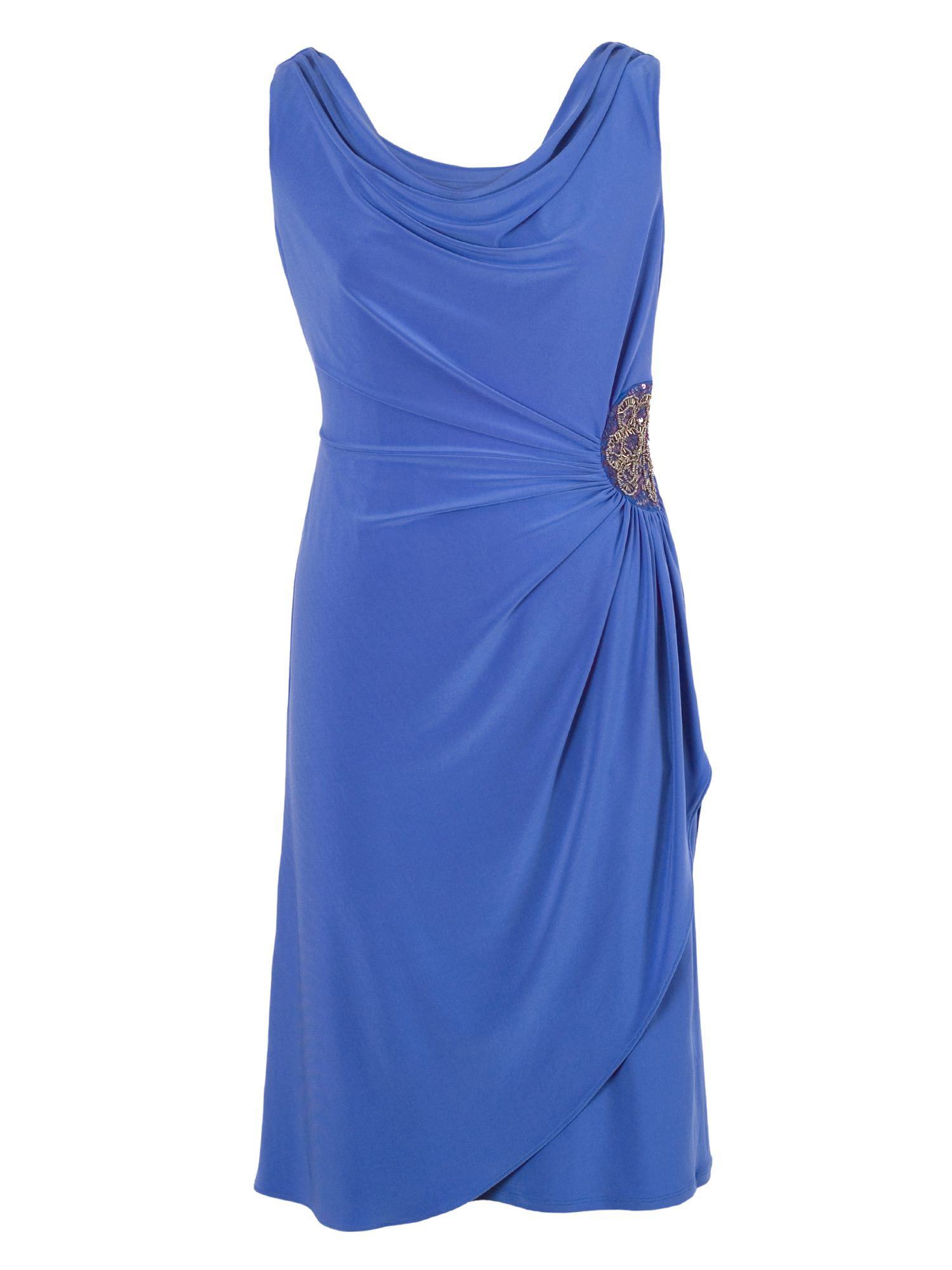 Chesca Cowl Neck Side Beaded Jersey Dress, Blue