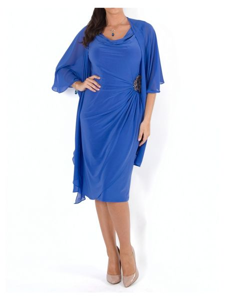 Chesca Cowl Neck Side Beaded Jersey Dress