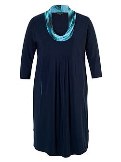 Plus Size Navy/Turquoise Print Cowl Jersey Dress