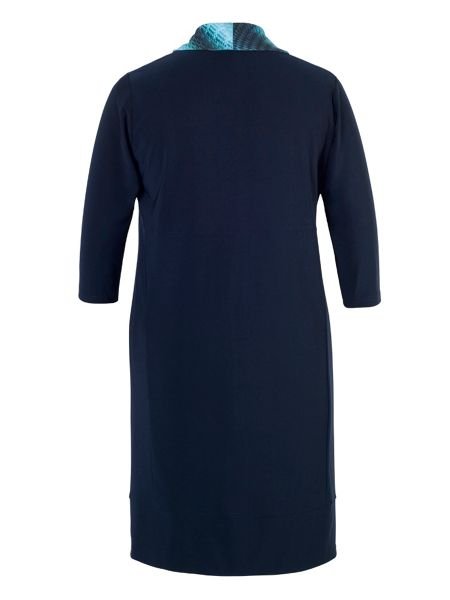 Chesca Plus Size Navy/Turquoise Print Cowl Jersey Dress