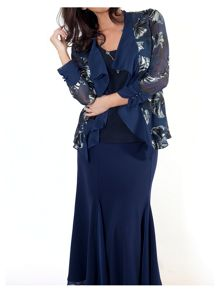 Navy fan print devoree shrug