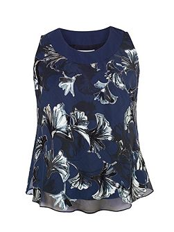 Plus Size Navy fan print devoree camisole
