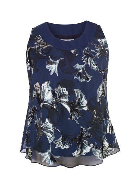 Chesca Plus Size Navy fan print devoree camisole