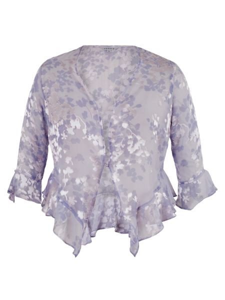 Chesca Lilac Devoree Applique Trim Shrug