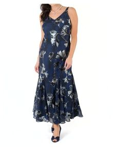 Chesca Plus Size Navy fan print devoree dress