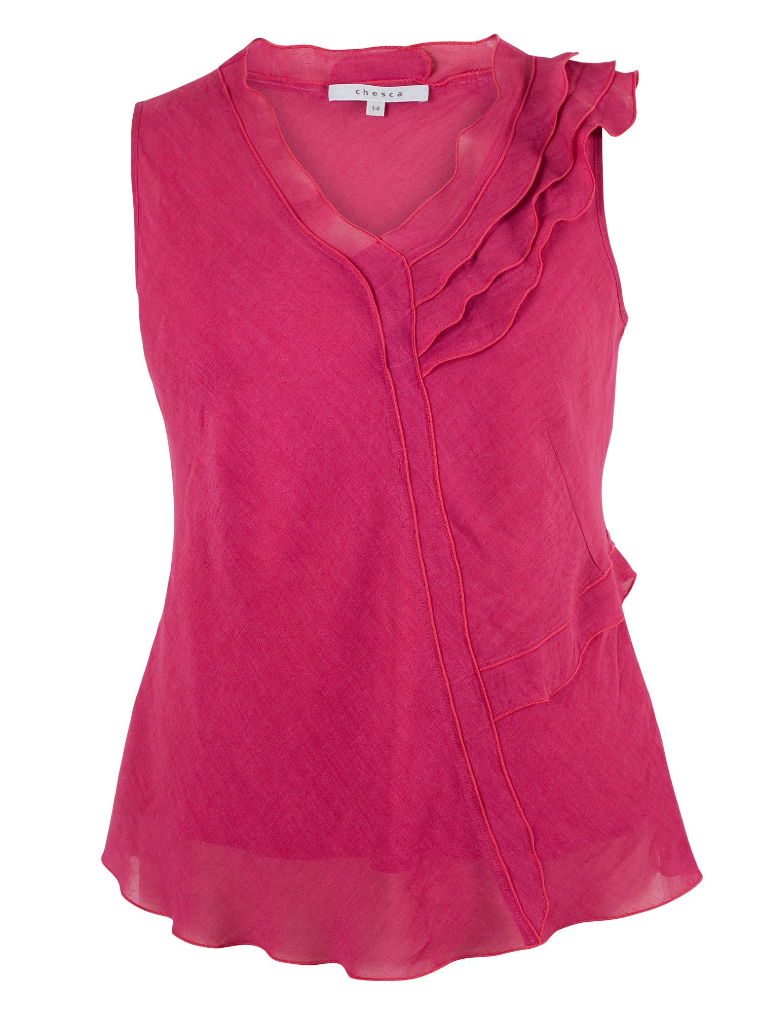 Chesca Frill Linen Top, Pink