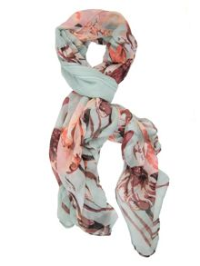 Mint Coral Floral Print Scarf