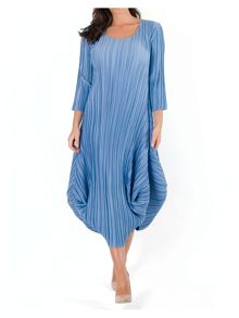 Plus Size Crush Pleat Crepe Drape Hem Dress