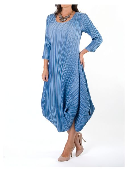 Chesca Plus Size Crush Pleat Crepe Drape Hem Dress