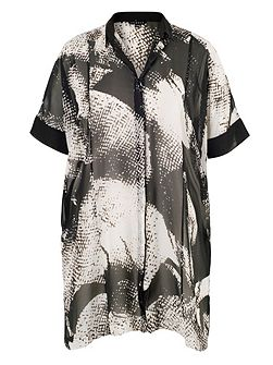 Plus Size Printed Overshirt