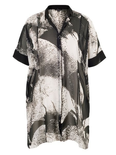 Chesca Plus Size Printed Overshirt