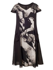 Plus Size Abstract Print Chiffon Lined Dress
