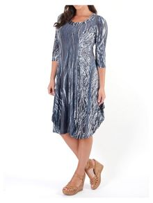 Plus Size Ribbon Print Lined Dress