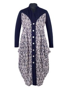 Chesca Daisy Jersey Coat with Contrast Trim