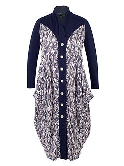 Daisy Jersey Coat with Contrast Trim