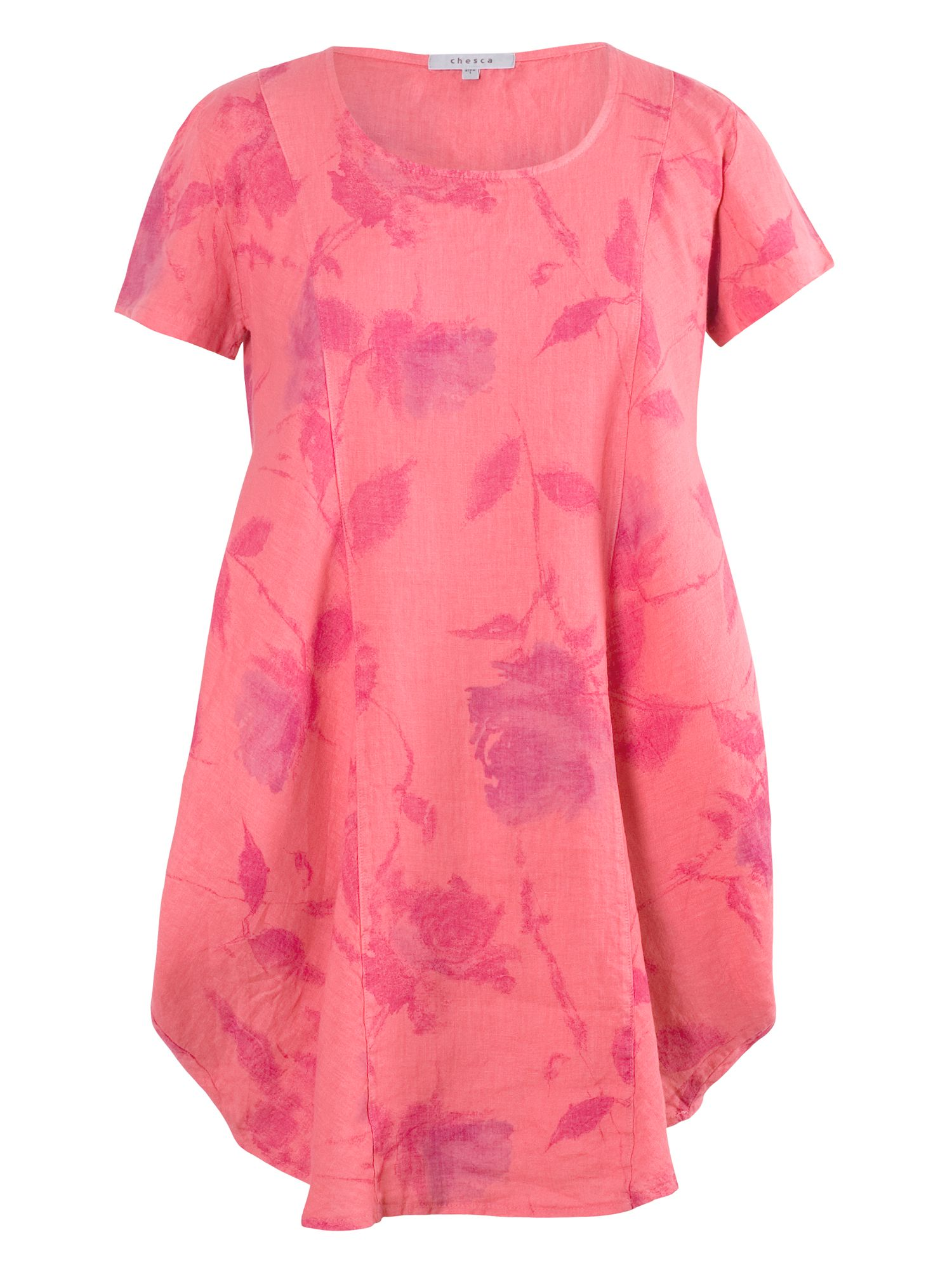 Chesca Floral Print Linen Tunic, Pink