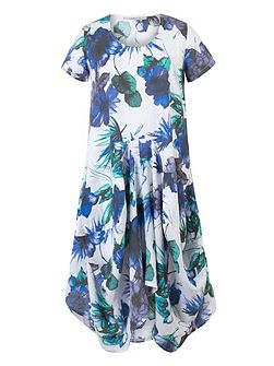 Plus Size Ruched Hem Floral Linen Dress