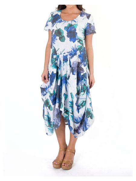Chesca Plus Size Ruched Hem Floral Linen Dress