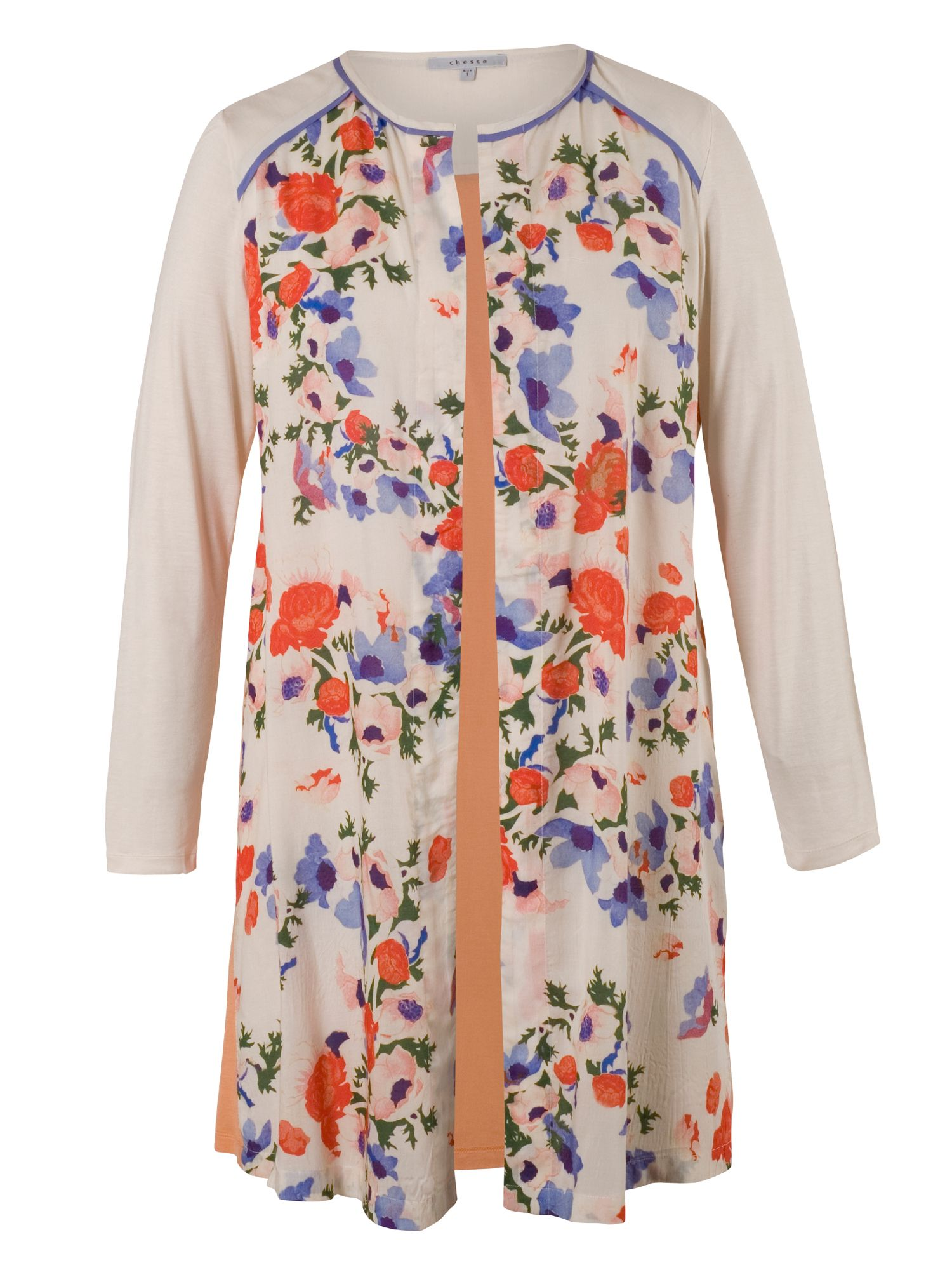 Chesca Floral Coverup with Contrast Yoke, Cream