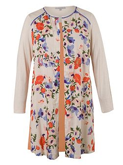 Floral Coverup with Contrast Yoke