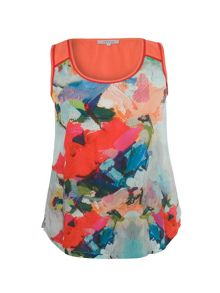Chesca Floral Print Camisole with Contrast Yoke