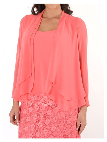 Chesca Plus Size Chiffon Shrug with Lace Back