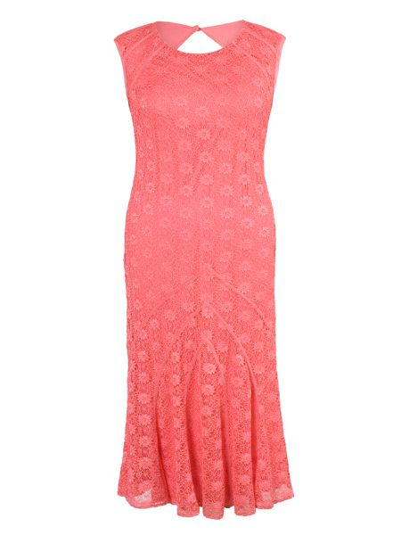 Chesca Plus Size Cathedral Detail Lace Dress
