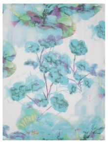 Turquoise Abstract Floral Print Scarf