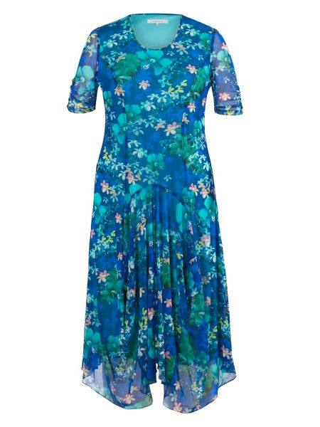Chesca Plus Size Floral Print Mesh Dress