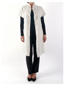 Sleeveless Boiled Wool Coat