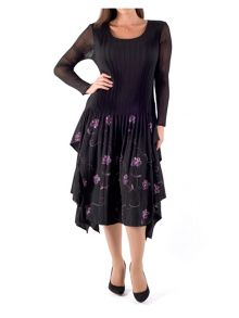 Chesca Plus Size Crush Pleat Layered Embroidered Dress