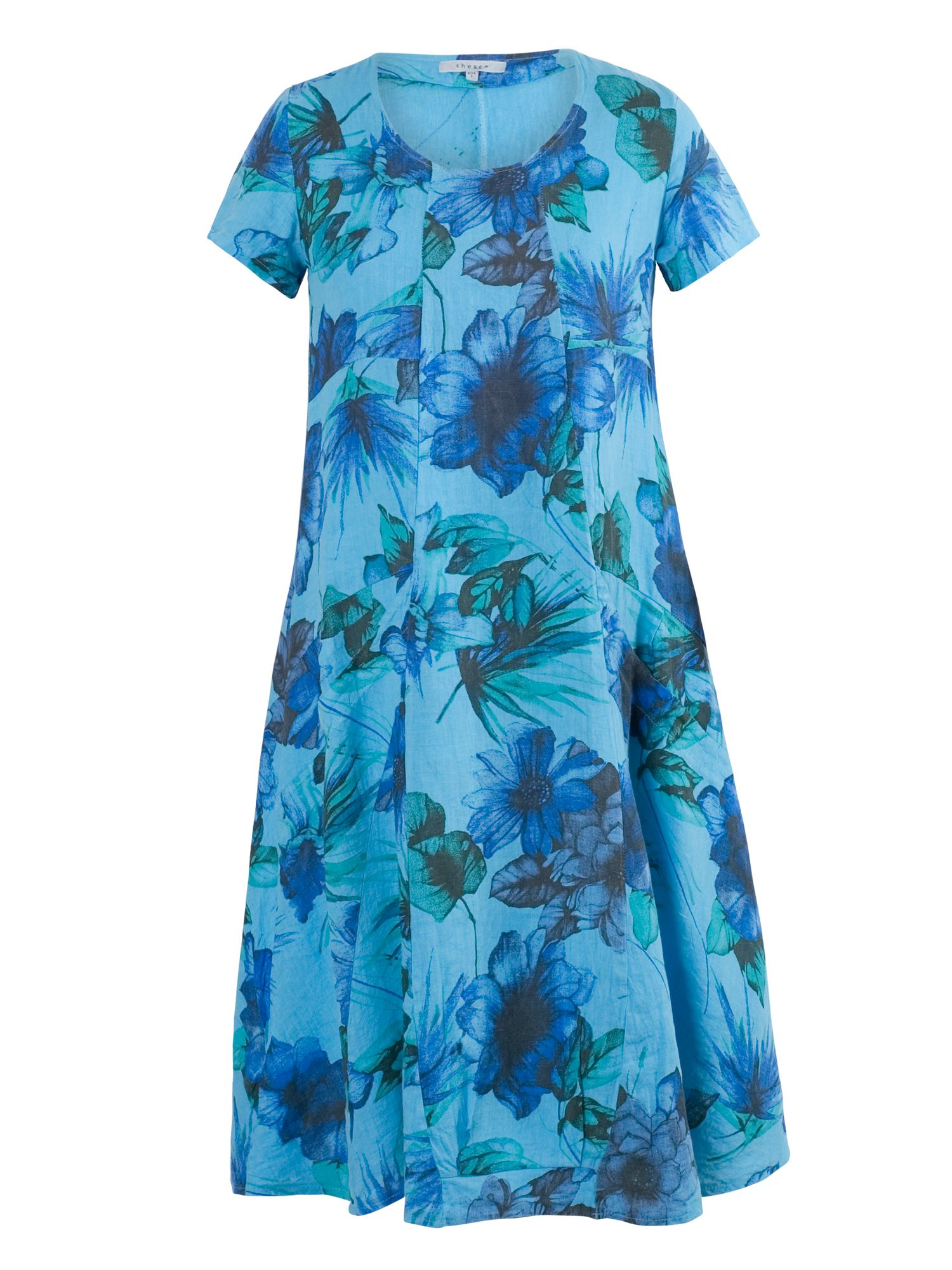 Chesca Plus Size Floral Print Linen Dress, Aqua