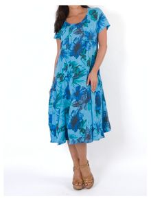 Plus Size Floral Print Linen Dress