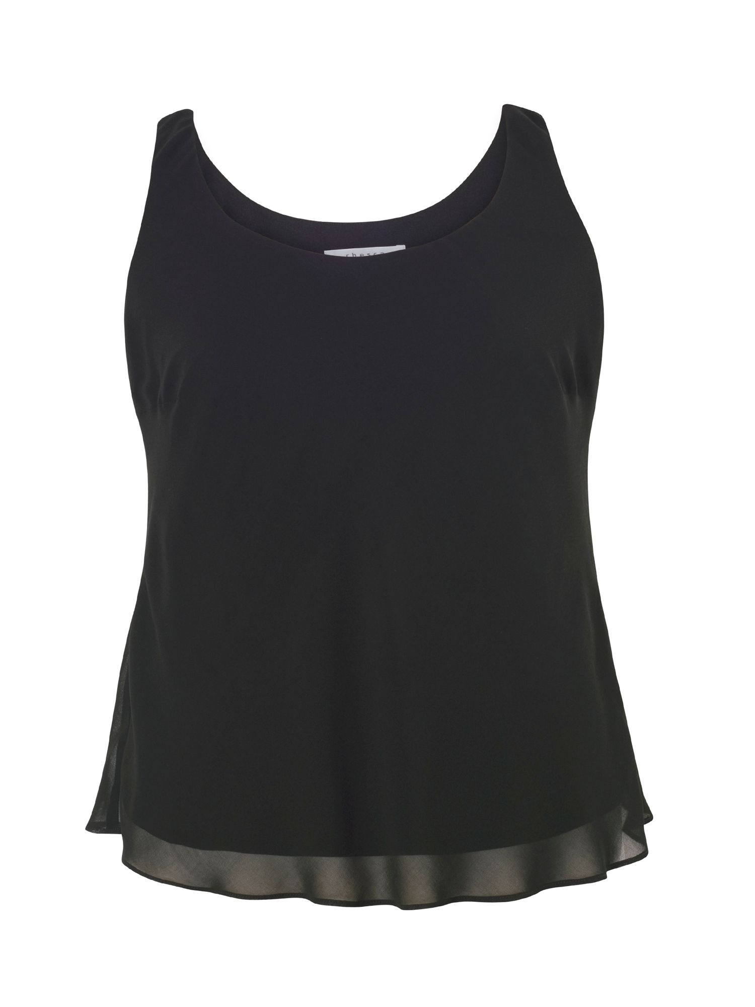Chesca Chiffon Camisole with Jersey Lining, Black