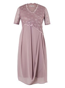 Plus Size Scallop Lace Chiffon Drape Dress